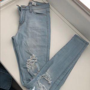 High Waisted light wash skinny jeans